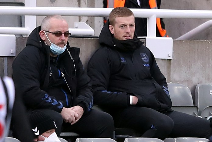 Everton goalkeeper Jordan Pickford (right) was left on the bench at Newcastle