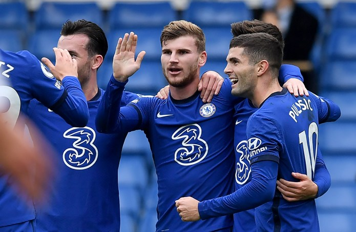 Lampard will need all his attacking options, including Timo Werner, centre, and Christian Pulisic, right, during the busy schedule