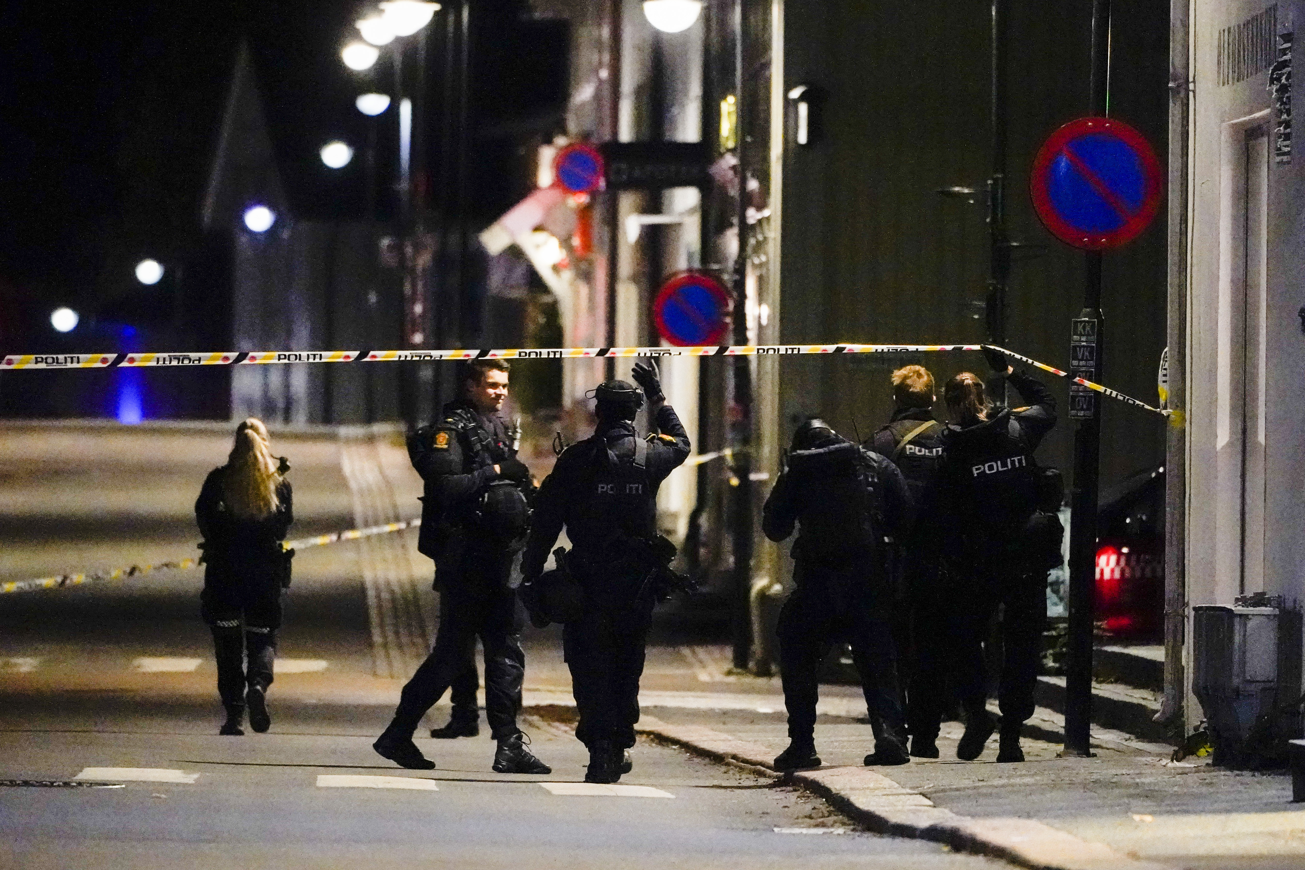 Police at the scene of the attack in Kongsberg