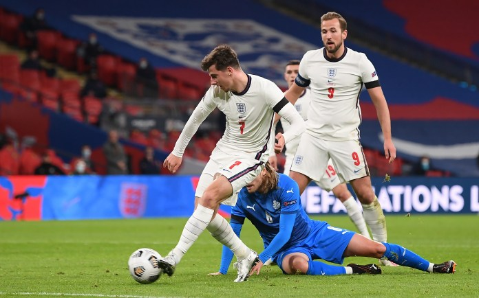 Mason Mount scores England's second goal against Iceland