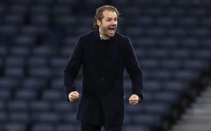 Hearts manager Robbie Neilson celebrates after beating Hibs in the semi-finals