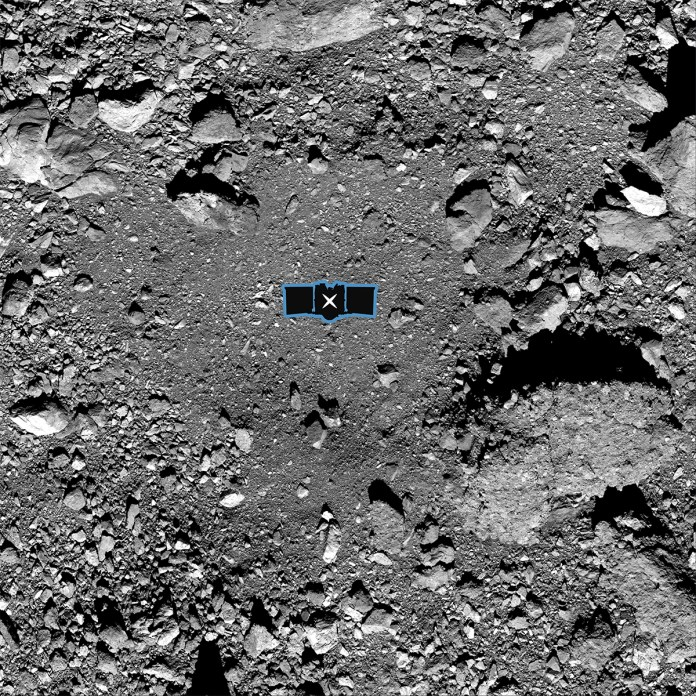 The primary sample collection site on Bennu, named Nightingale