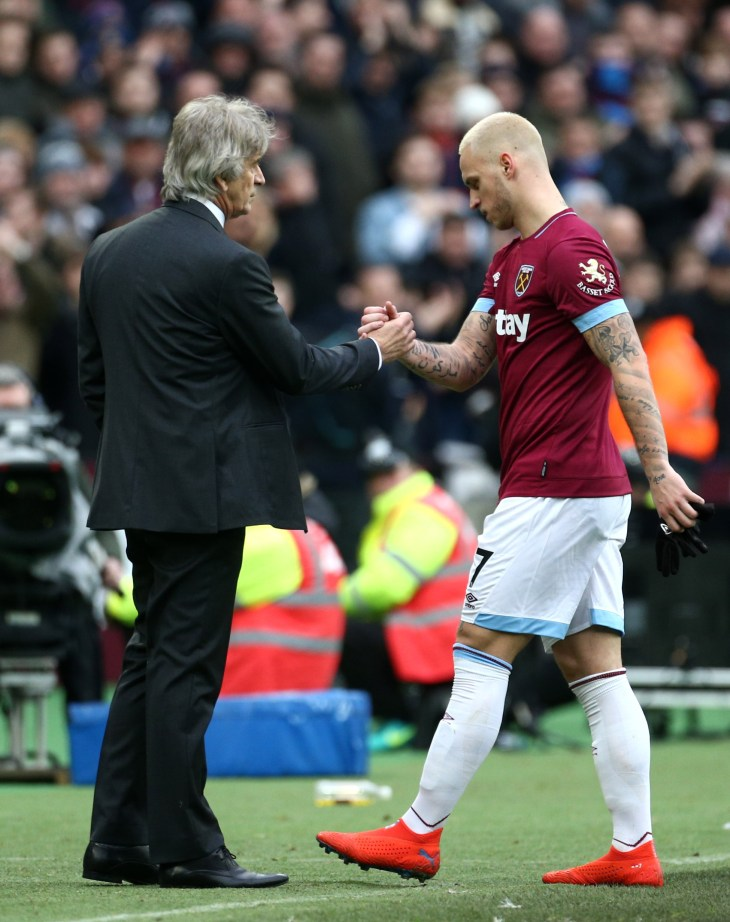 Arnautovic was substituted by manager Manuel Pellegrini with 19 minutes remaining.