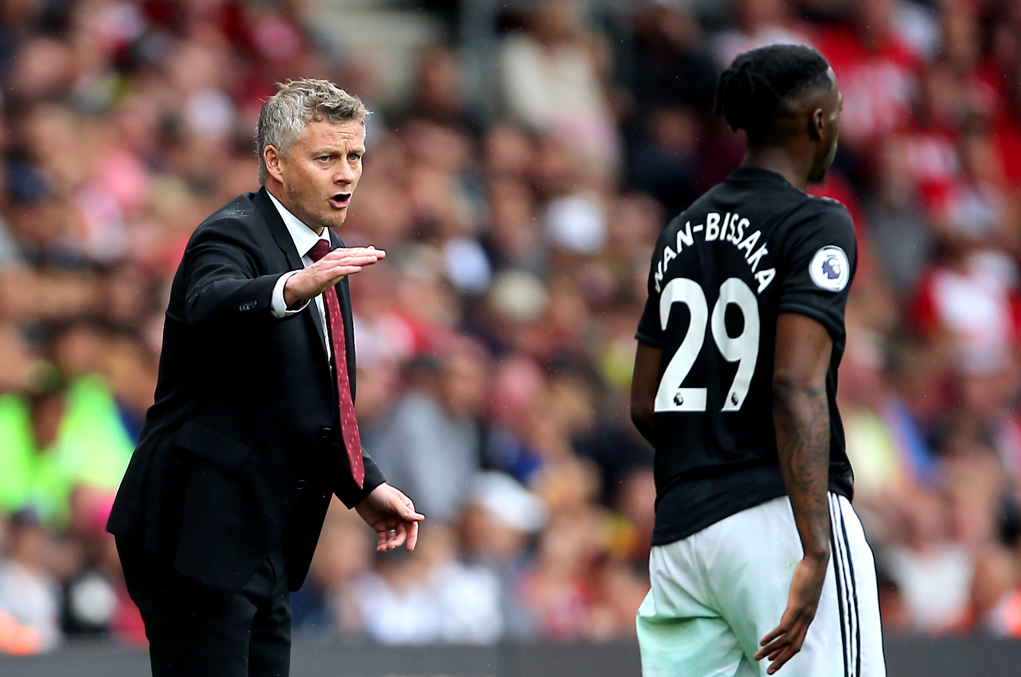Ole Gunnar Solskjaer, left, may be without Aaron Wan-Bissaka on Saturday