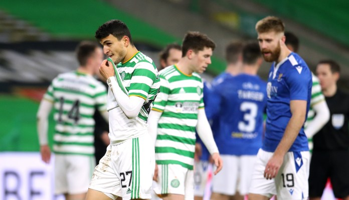 Celtic goalscorer Mohamed Elyounoussi shows his disappointment with the result