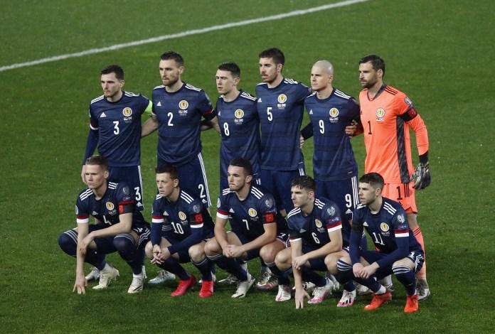Scotland line up in Belgrade