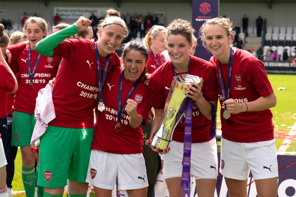 Miedema celebrates WSL title success with a number of her Arsenal and Holland team-mates.