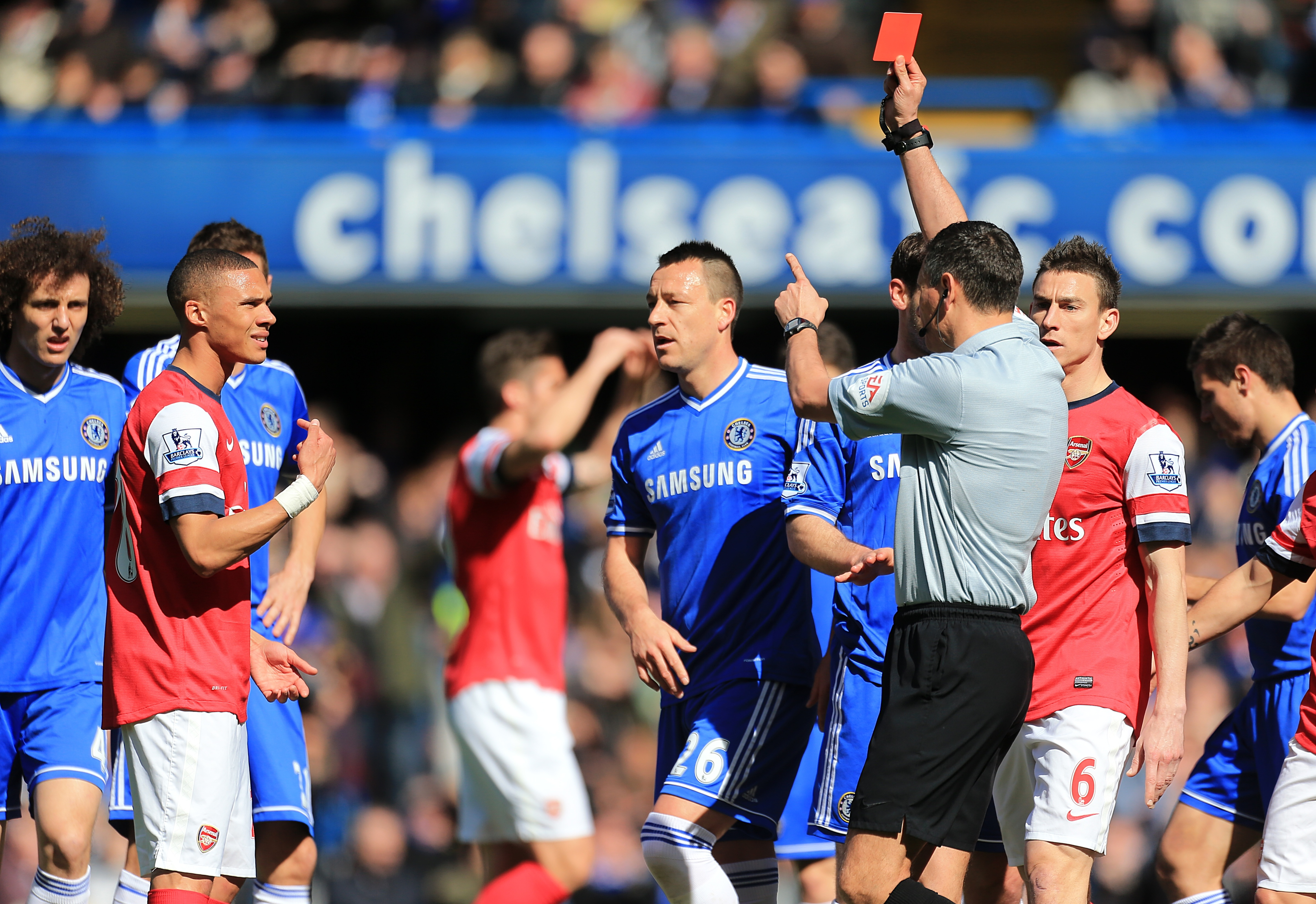Kieran Gibbs was sent off early in the game back in 2014 - referee Andre Marriner mistaking him for Alex Oxlade-Chamberlain, who had handled on the line.