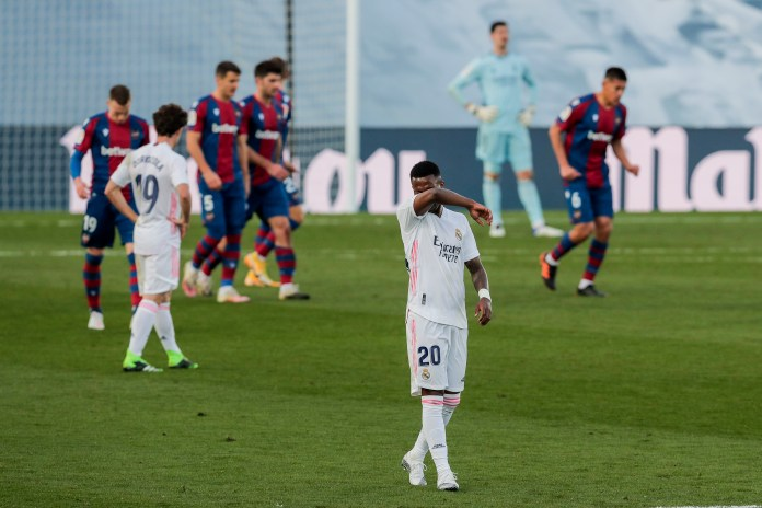 Vinicius Junior reacts during Real Madrid's defeat by Levante