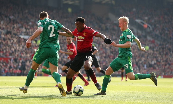 Anthony Martial, centre, scored against Watford