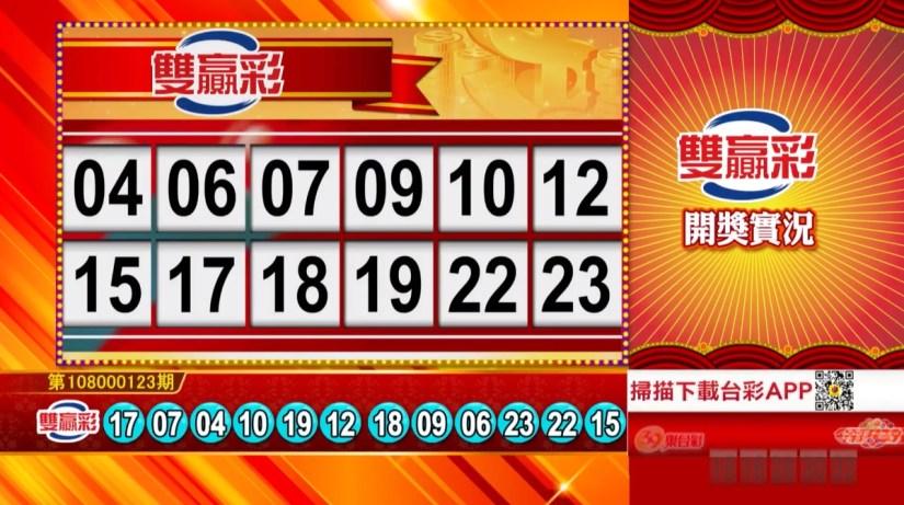 雙贏彩中獎號碼》第108000123期 民國108年5月23日