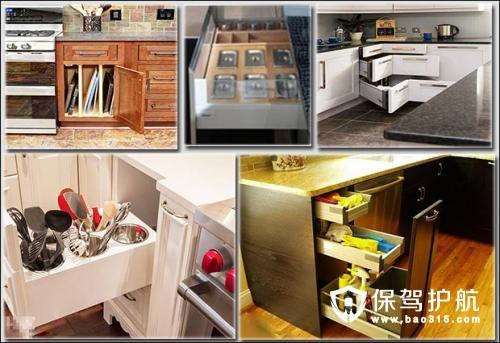 kitchen pulls custom cabinets 厨房拉篮的特点和选择注意事项 保驾护航装修网