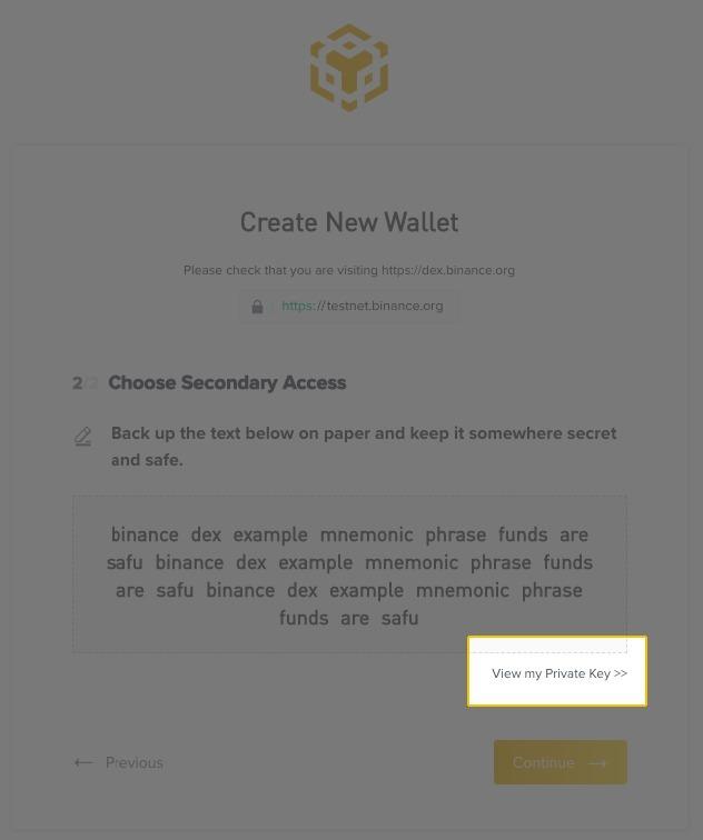 Hướng dẫn tạo ví trên sàn Binance DEX