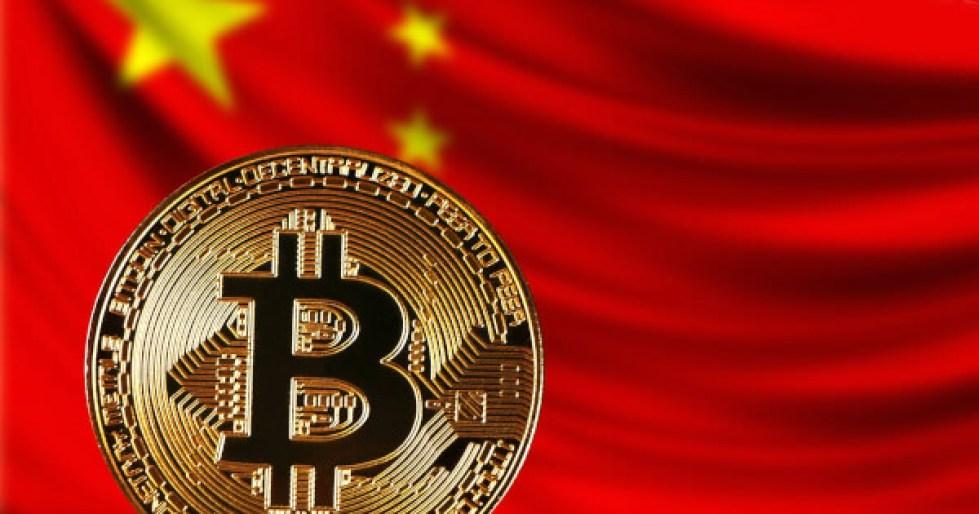 China flag and bitcoin