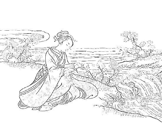 鈴木春信の塗り絵「見立菊慈童」 ぬり絵リラックス(無料ぬり絵と世界の