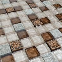 crystal glass tile natural stone & glass blend mosaic wall ...