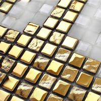 crystal mosaic tile patterns 20x20mm gold glass tile ...