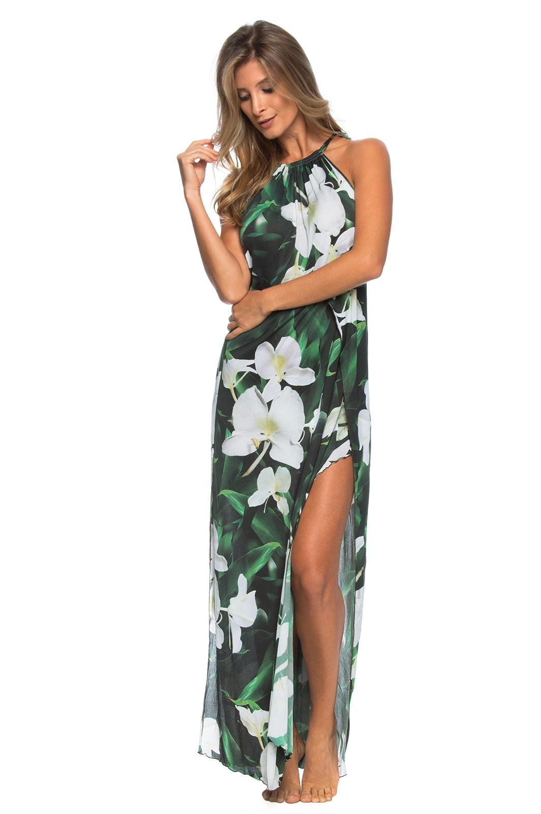 Beach Dress Long Green Beach Dress With White Flowers