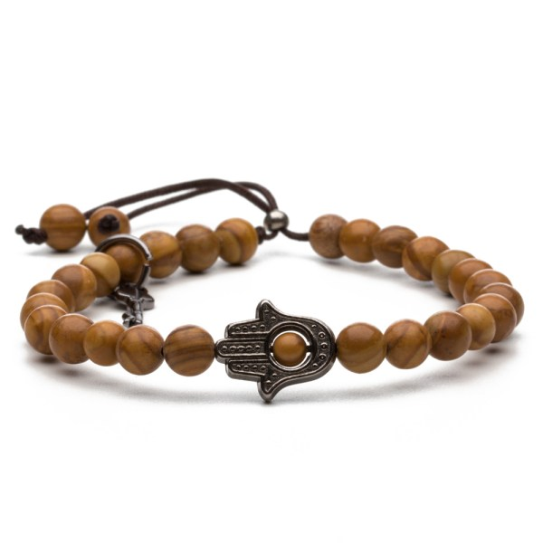 Key Design Bracelet With Wooden Beads And Fatima Hand