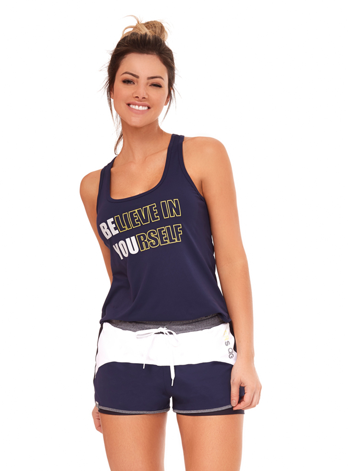 Navy Blue  White Fitness Set Tank Top And Sporty Shorts