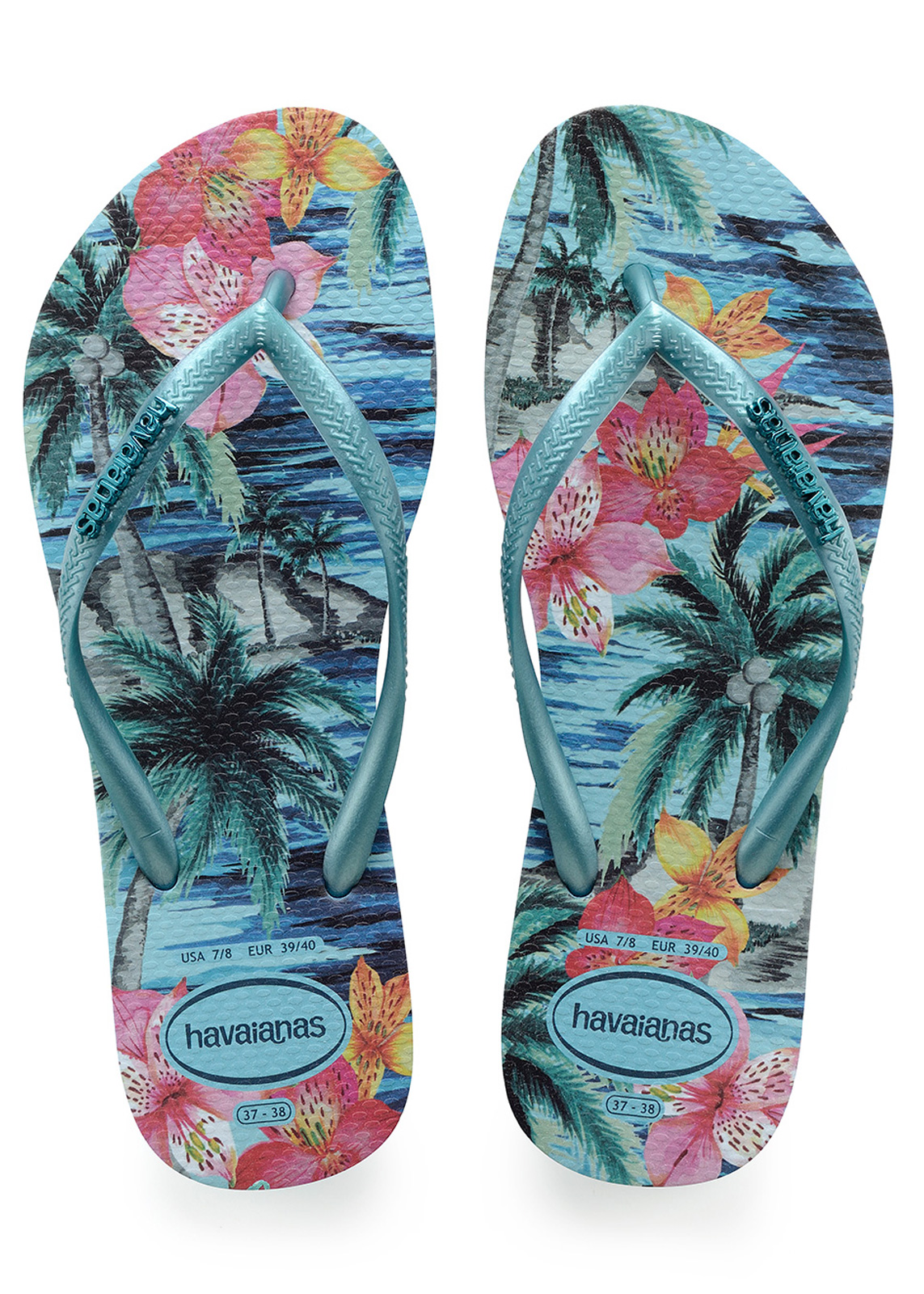rio brands beach chairs uk slipcovered living room flip flops slim tropical blue splash brand havaianas
