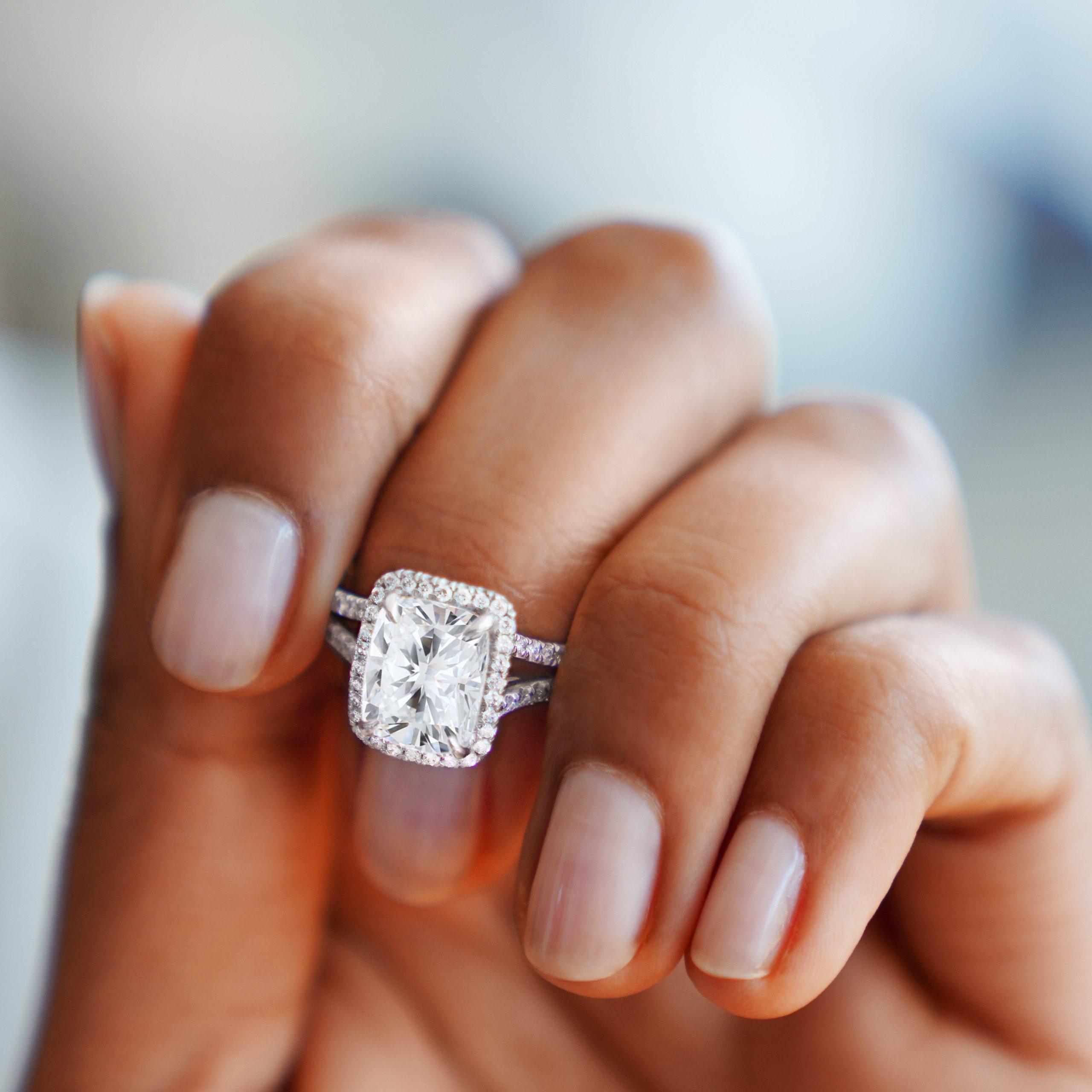 romantic cushion engagement ring styles