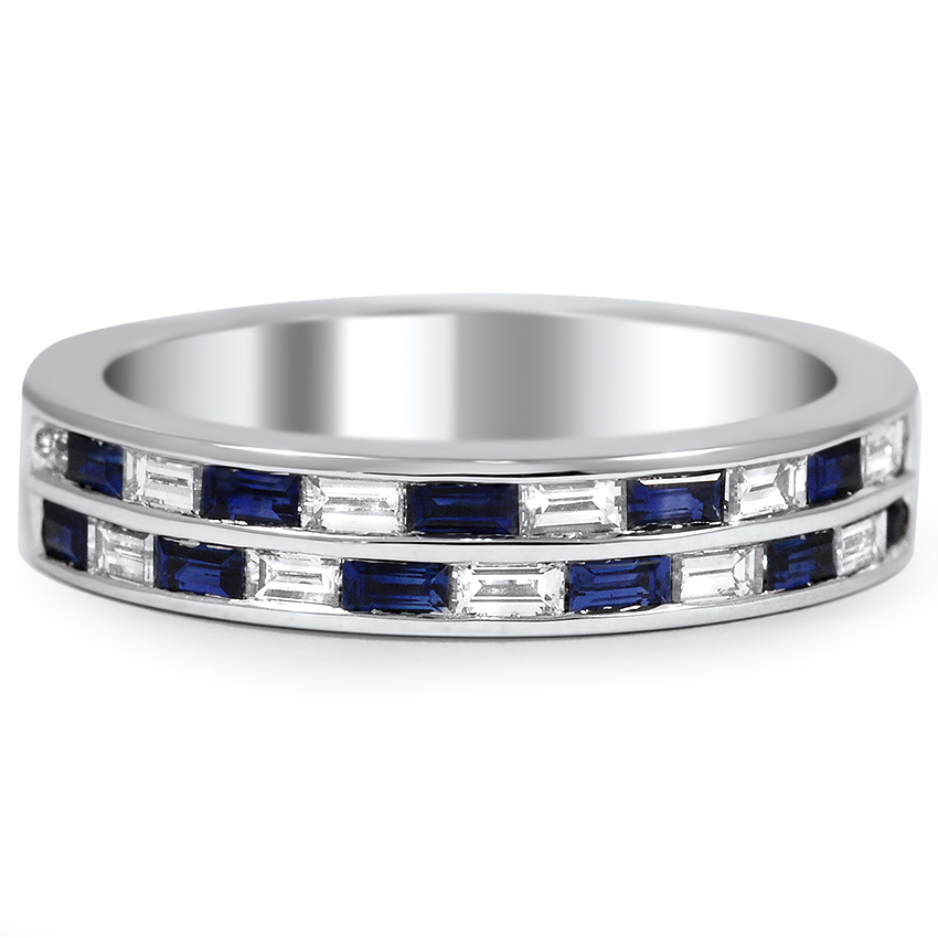 Custom Sapphire And Diamond Baguette Double Wedding Band