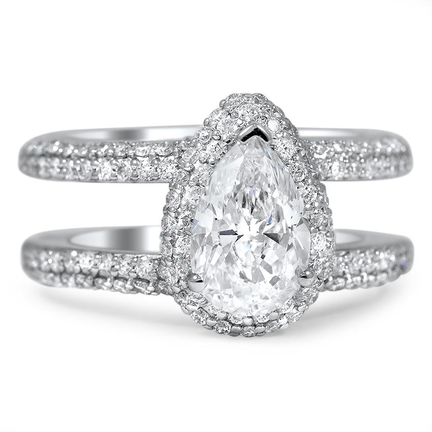 Custom Double Band Pav Halo Diamond Ring  Brilliant Earth