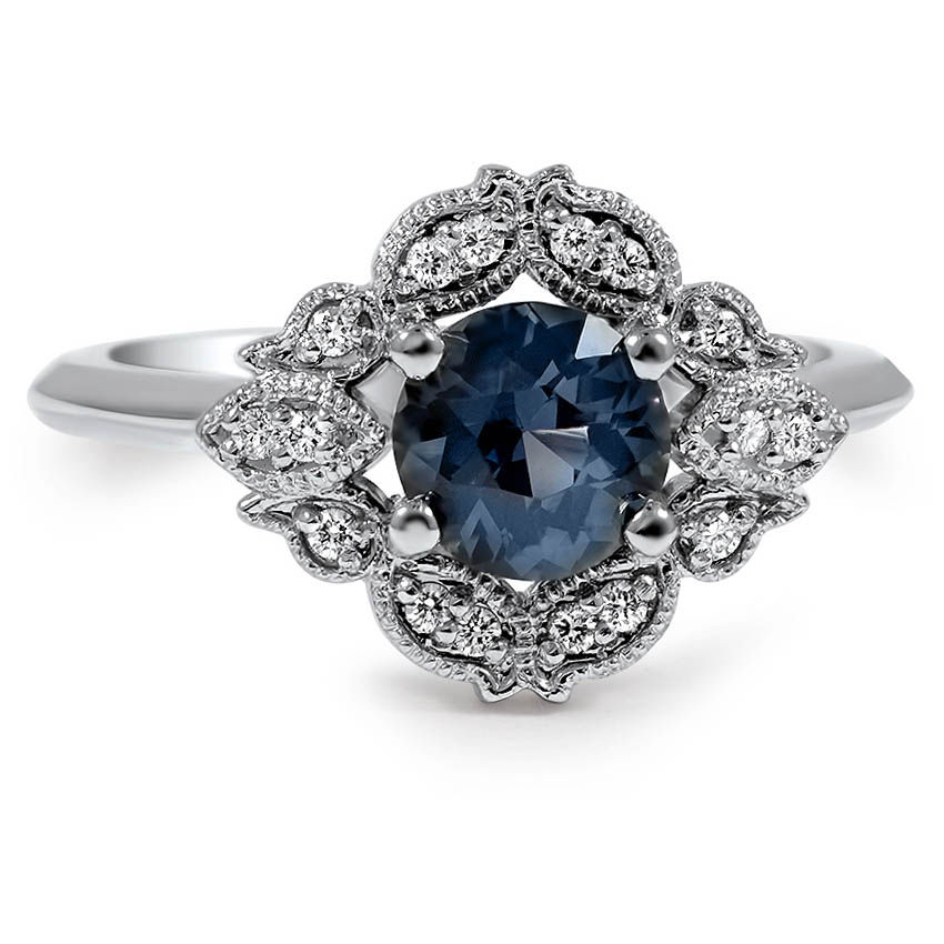 Custom Embellished Sapphire Halo Ring Brilliant Earth