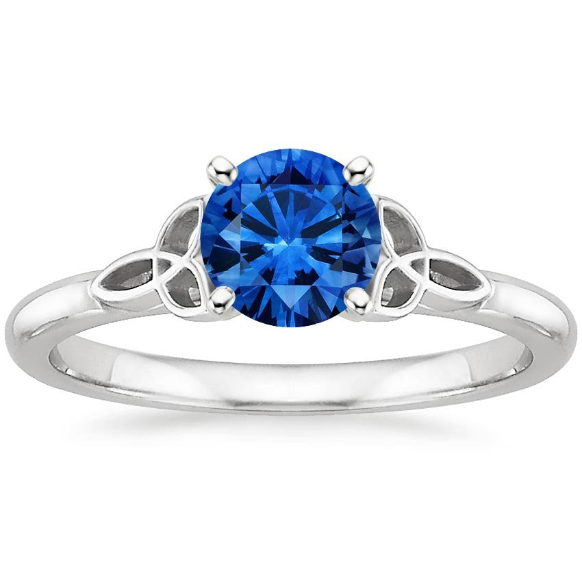 Sapphire Celtic Love Knot Ring in Platinum