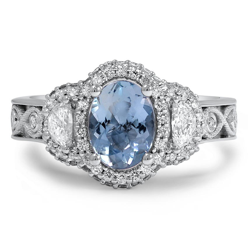 Custom Triple Halo Diamond and Aquamarine Infinity Ring