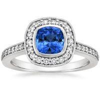 Sapphire Fancy Bezel Halo Diamond Ring with Side Stones in ...