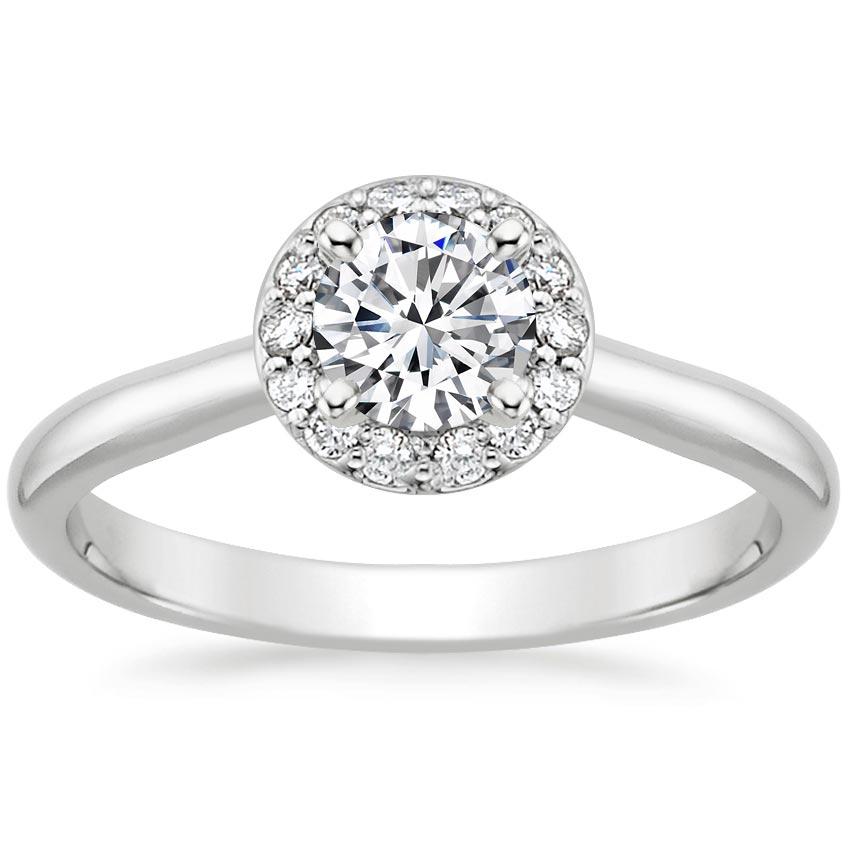 Preset Platinum Halo Diamond Ring (1/8 ct. tw.) with 0.50