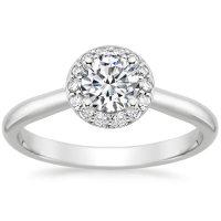 Preset Platinum Halo Diamond Ring (1/8 ct. tw.) with 0.50 ...