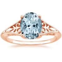 Aquamarine Florence Ring in 14K Rose Gold | Brilliant Earth