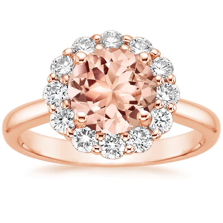 Morganite Lotus Flower Ring in 14K Rose Gold