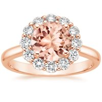 Morganite Lotus Flower Ring in 14K Rose Gold