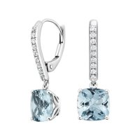 Aquamarine and Diamond Drop Earrings in 18K White Gold