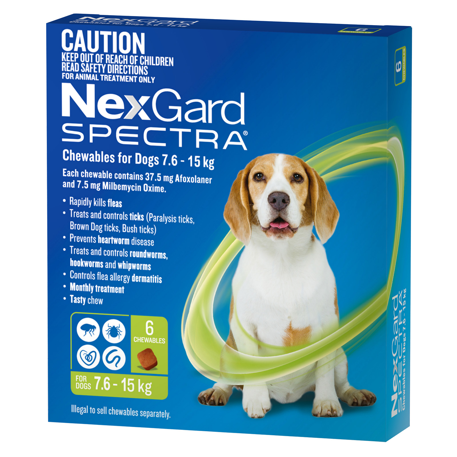 NexGard Spectra Chewables For Dogs Green 7.6-15kg 6 Pack - $97.25