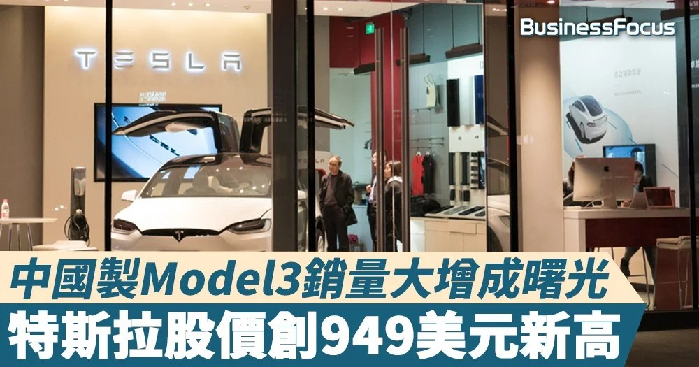 【Tesla股價】中國製Model3銷量大增成曙光 特斯拉股價創949美元新高 | BusinessFocus