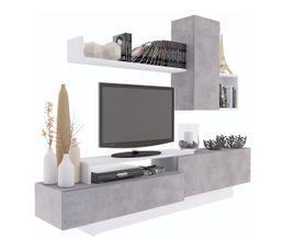 meuble tv kastle beton et blanc brillant