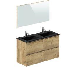 meuble de salle de bain 120 cm galapagos chene et noir