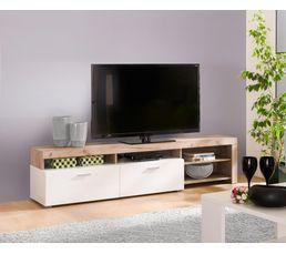 meuble tv fiona bois gris et blanc