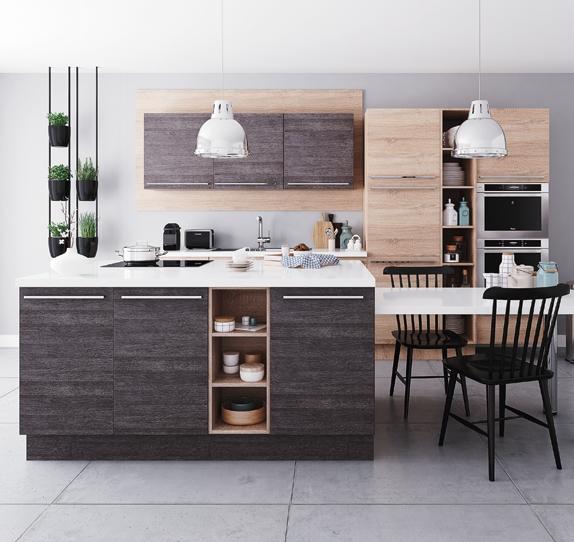 cuisine blanche plan de travail bois
