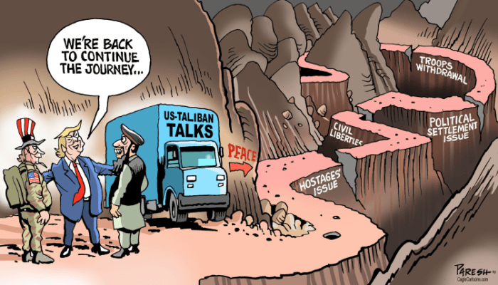 Editorial Cartoon: Afghan peace journey