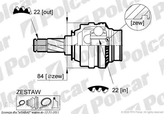 Przegub GLO przegub wewnętrzny 1.6 OPEL ASTRA F (T92/M99