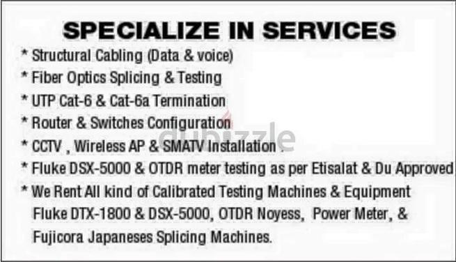 fiber optic splicing Otdr fluke test dubai abudhabi UAE