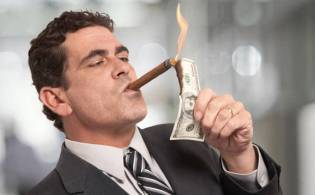 Image result for banker smoking money