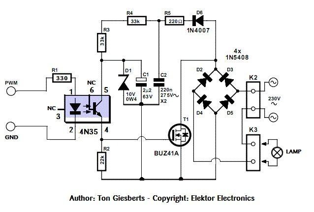 Sichere und einfache AC PWM Dimmer für Arduino / Raspberry Pi