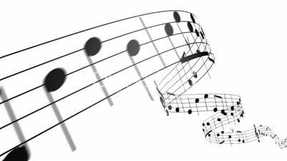 Music notes in 3d. HD. Loopable.: Royalty-free video and